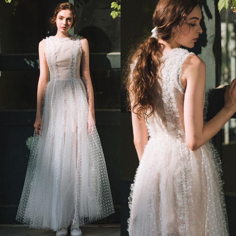 ウェディングドレス フリル カジュアル シンプル スレンダーライン 海外ウエディング 結婚式/パーティー/ロング/二次会