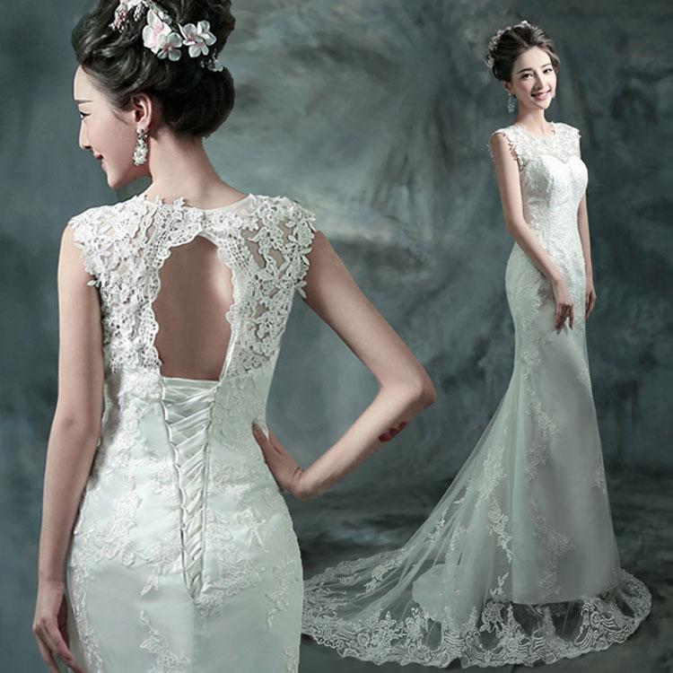 ウェディングドレス フィッシュテール マーメイドライン 海外ウエディング サイズXS~XXXL 大きいサイズ 小さいサイズ 結婚式/パーティー/ロング/二次会