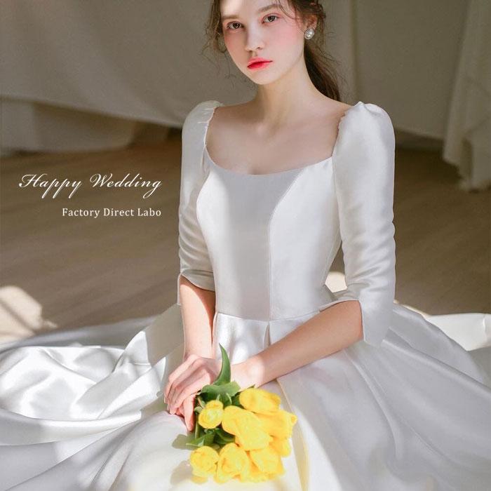ウェディングドレス プリンセスライン 五分袖  お姫様 海外ウエディング 発表会 XS~XL 大きい 小さいサイズ 結婚式/二次会