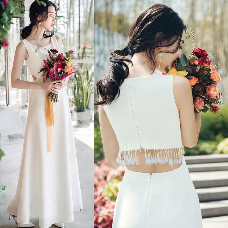 ウェディングドレス セパレート カジュアル シンプル Aライン 海外ウエディング 結婚式/パーティー/ロング/二次会