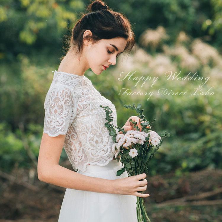 ウェディングドレス セパレート カジュアル シンプル スレンダーライン 海外ウエディング 結婚式/パーティー/ロング/二次会