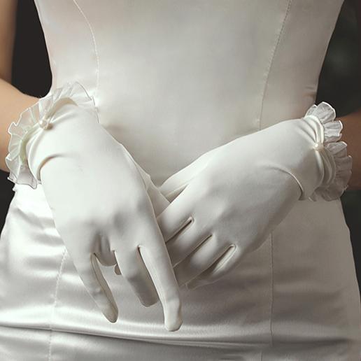 ウエディンググローブ ウェディンググローブ グローブ 海外ウエディング ご予約品 パーティー 結婚式 手袋 ベール ショート ドレス ウエディンググローブフリルが可愛い 花嫁 ウエディング 新作製品 世界最高品質人気 肌触りのいいストレッチ素材