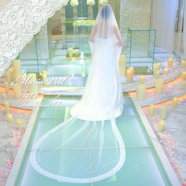 Wedding Factory Direct.Maria Veil Long Length Race Hemming Refined Wedding Elegant Raschel Race Wedding Ceremony Maria Veil Size Length 320cm Width Choice