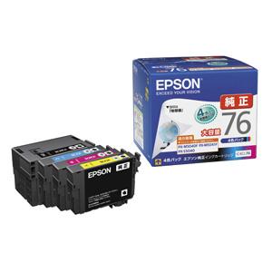 エプソン 大容量インクカートリッジ 4色パック IC4CL76【代引不可】【後払い決済不可商品】