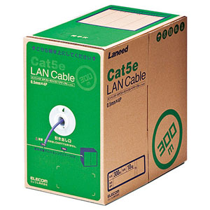 エレコム EU RoHS指令準拠 LANケーブル(Cat5e 単線)300mLD-CT2/PU300/RS(パープル)【代引・後払い決済不可商品】