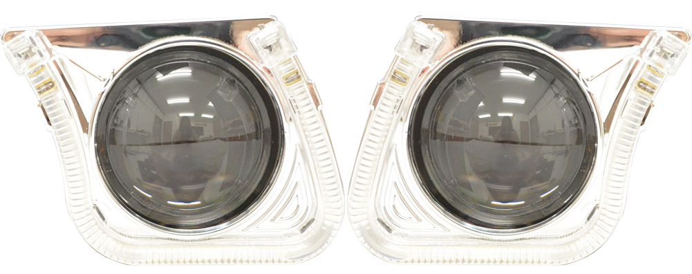 PRO-CH38HL U字型LEDイカリング装備!60mm汎用プロジェクターライトレンズ Bi-Xenon ハイロー切替可能 日本仕様(カスタム パーツ アクセサリー カスタムパーツ ヘッドライト ドレスアップ ライト カー用品 プロジェクター)