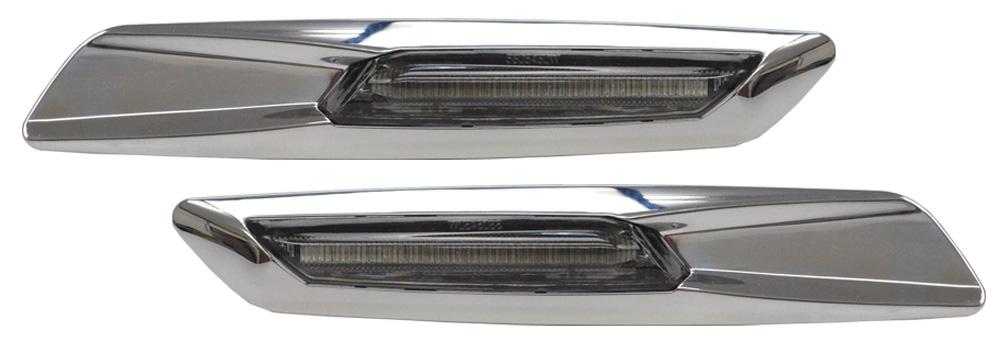 LL-BMSM-B03SM クロームボディ&スモークレンズ LED サイドマーカー BMW F10ルック 5シリーズ E60 E61 レーシングダッシュ製 (LEDウインカー サイドウインカー ウィンカー グッズ )