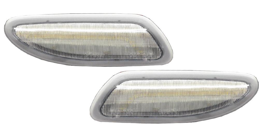 LL-BZ-SMD-CR01 クリアーレンズ&アンバーLED Cクラス W203(前期後期 2000-2007 アメリカ仕様 USDM)LEDサイドマーカー Benz メルセデス ベンツ(サイドマーカー 車 パーツ カスタム サイドマーカーランプ 車用 車用品 パーツ)