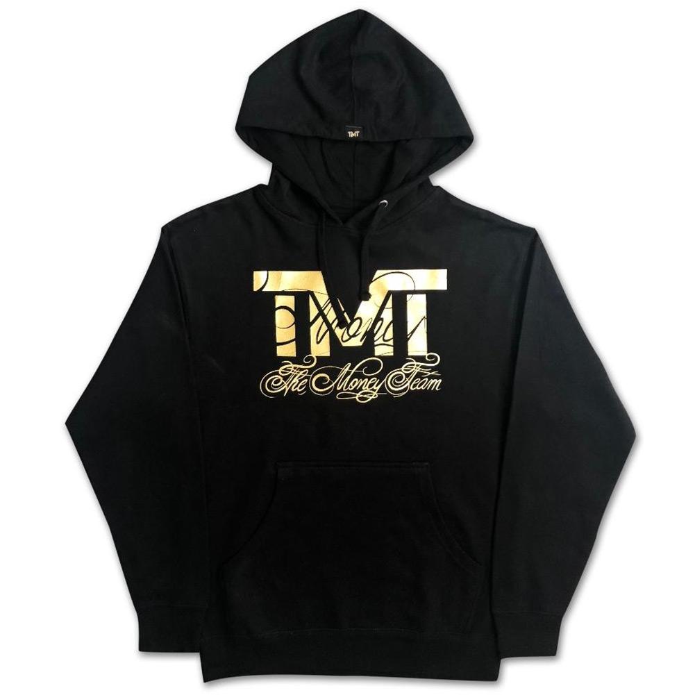 tmt-mo30-3kg THE MONEY TEAM ザ・マネーチーム パーカーRINGSIDE GOLD 黒ベース×金ロゴ フロイド・メイウェザー ボクシング 男性 メンズ ブラック プリント アメリカ TMT WBC WBA( グッズ おしゃれ スポーツ フーディ 格闘技 )