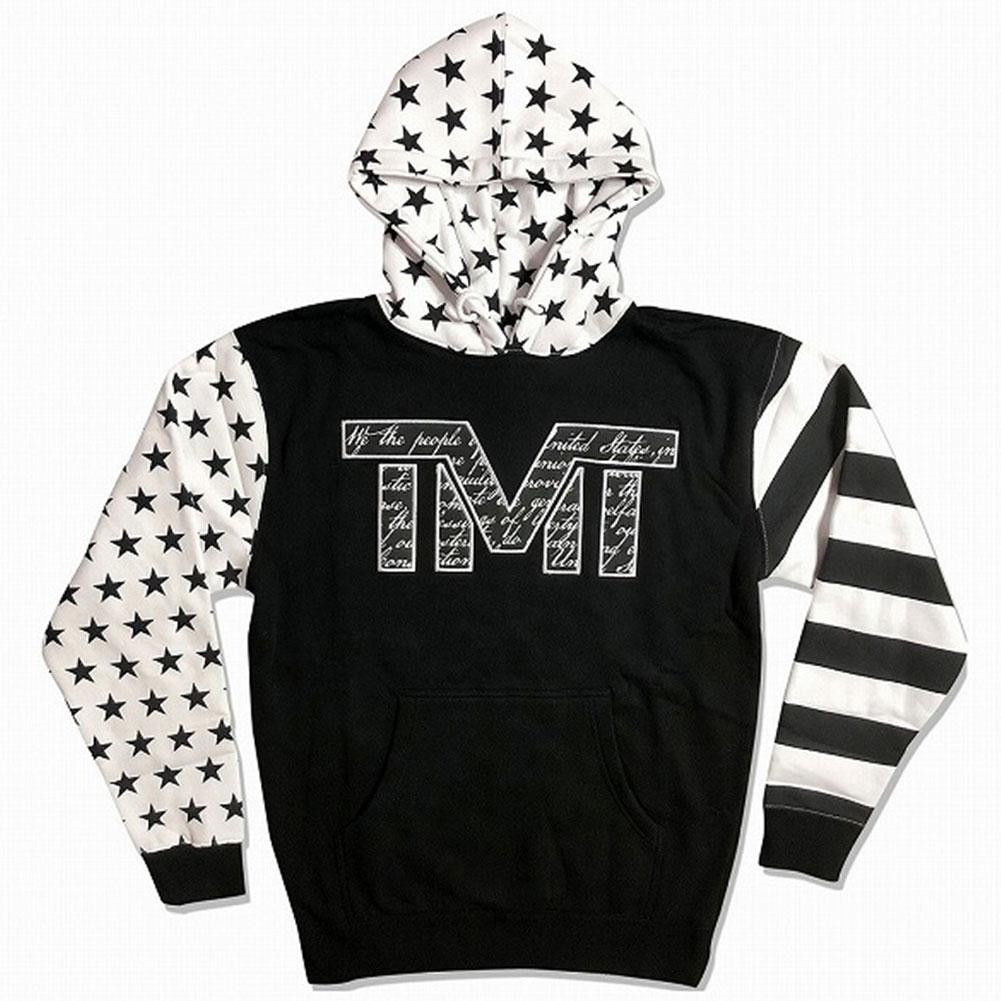 tmt-mo35-2kw THE MONEY TEAM ザ・マネーチーム パーカーTMT DECLARATION 黒ベース×スター フロイド・メイウェザー ボクシング 男性 メンズ ブラック プリント アメリカ 国旗 TMT WBC WBA( おしゃれ スポーツ 長袖 )