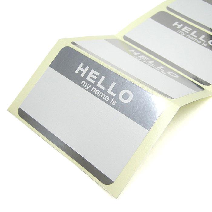 FADEBOMB-METALLIC-HELLO Name Badge Label 【HELLO my name is】ラベル シール 50枚セット/名札ラベル宛名シール【メール便OK】