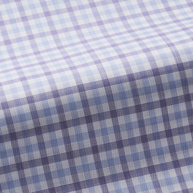 [国内縫製]トーマスメイソンジャーニー(Thomas Mason JOURNEY)で作る オーダーメイド シャツ/パープルチェック ビジネス ドレスシャツ 婚活 モテシャツ オーダーシャツ 紳士 ギフト 38628 クールビズ 形態安定