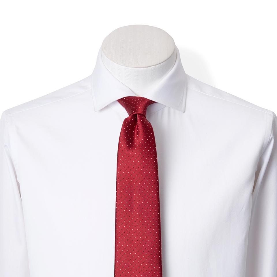 FAIRFAX/ドット柄ジャガードタイ(ワインレッド)フェアファクス ネクタイ 水玉柄ネクタイ シルク100% おしゃれ プレゼント 結婚式 (送料無料)