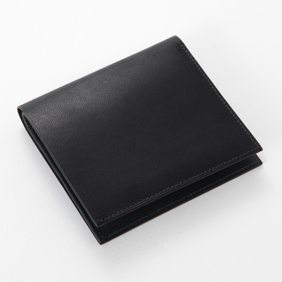 FITZGERALD/薄型コンパクト2つ折り札入れ(表革色:ブラック 内革色:ネイビー×白)フェアファクス 本革 新作 おしゃれ プレゼント 結婚式(送料無料)