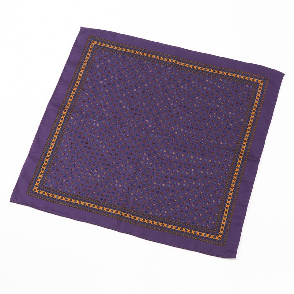 FAIRFAX/花小紋柄ポケットチーフ(パープル)フェアファクス ネクタイ 新作 結婚式 プレゼント 送料無料