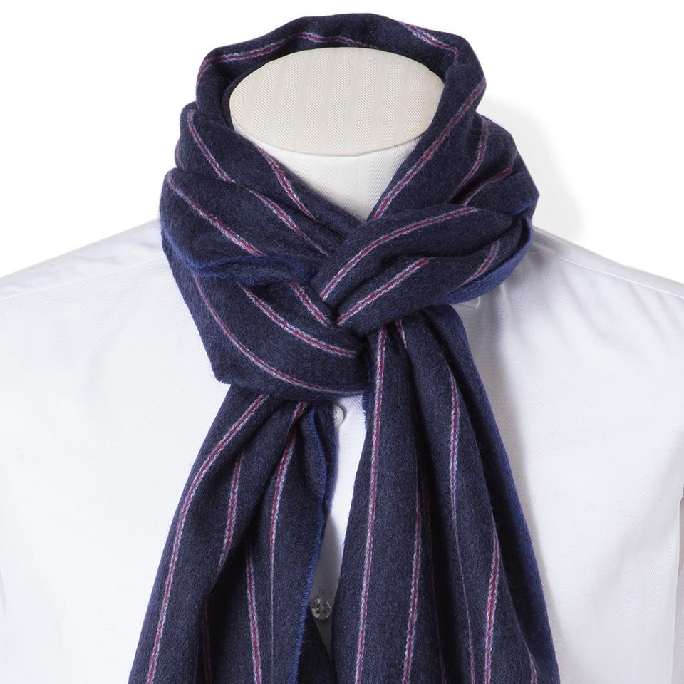 FAIRFAX/ストライプ柄カシミヤマフラー(ネイビーブルー×ブルー)フェアファクス 暖かい マフラー アイビー 結婚式 プレゼント 送料無料