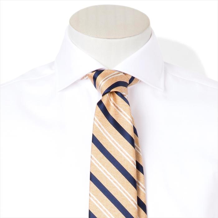 【FAIRFAX/フェアファクス】ストライプ柄ジャガードタイ(オレンジ×ネイビーブルー×ホワイト)フェアファクス 新作 日本製 結婚式 プレゼント (送料無料)