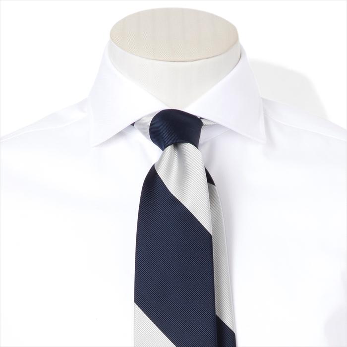【FAIRFAX/フェアファクス】レップ織りストライプ柄ネクタイ(ミッドナイトブルー×ホワイト) 新作 日本製 お洒落 結婚式 プレゼント (送料無料)