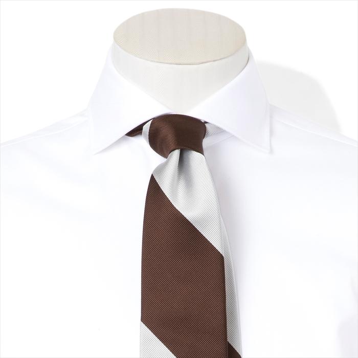 【FAIRFAX/フェアファクス】レップ織りストライプ柄ネクタイ(ブラウン×ホワイト) 新作 日本製 お洒落 結婚式 プレゼント (送料無料)