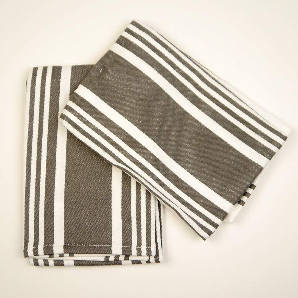 Crate & Barrel Cuisine Stripe Grey Dish Towels kitchen towel set two pieces  Grace tripe miscellaneous goods kitchen stylish New York buying