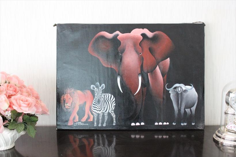 【即納・ティンガティンガ生原画】ムクラ<MKURA>の「ビッグフォー」 巨匠の作品・超希少・入手困難品・大きめ70x50cm木枠張り・カンと紐つきでスグ飾れます バックカラー:黒