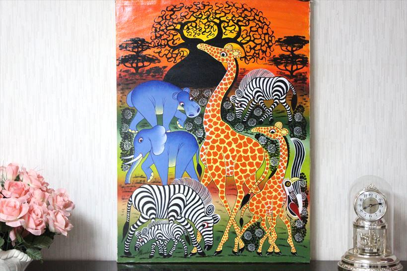 【即納・生原画ティンガティンガ】ムクンバ<MKUMBA>の「動物たち」大型75x55cm木枠張り・カンと紐つきでスグ飾れます バックカラー:青