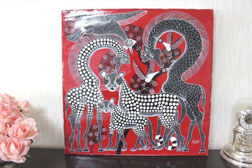 【即納】ルブニー<RUBUNI>「黒キリンとヒョウ」大きめ 60x60cm ティンガティンガ 絵画 木枠張り・カンと紐つきでスグ飾れます バックカラー:赤