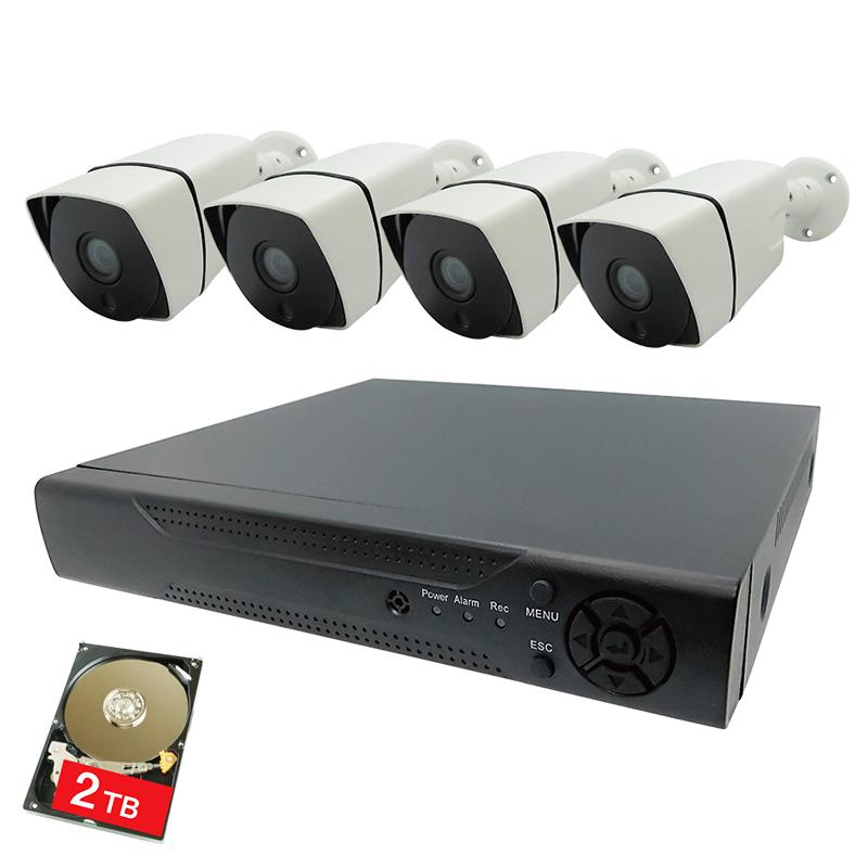 4K 屋外 防犯カメラ4台セット フルハイビジョン800万画素防犯カメラ4台+録画機+2TBハードディスクセット SEC-A-A4K-4 防犯 簡単取付 動体検知 赤外線 屋外 防水 録画 HDD 送料無料 ブロードウォッチ Broadwatch