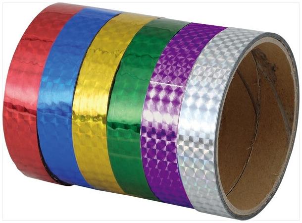 低価格 運動会用品 学園祭 体育祭 文化祭 粘着型ホログラムテープ 紫 青 緑 金 10本組 オープニング 大放出セール