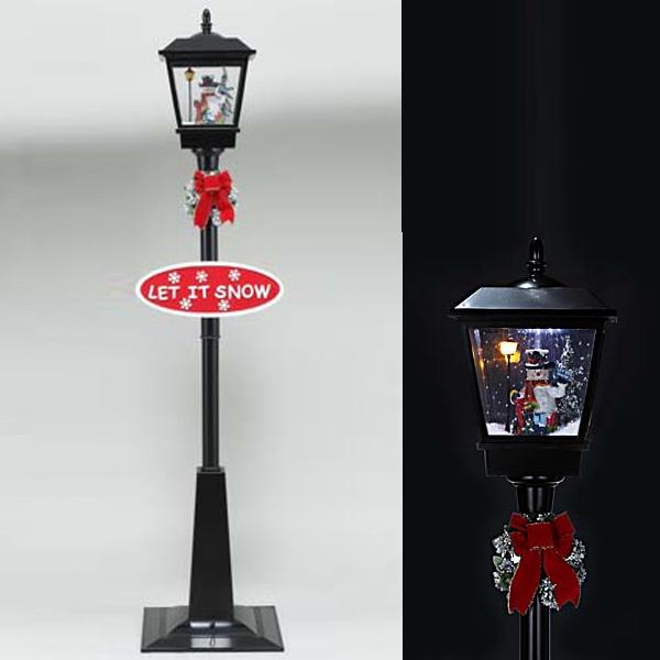 スノーイング街灯(ライト・ミュージック付で雪が降ります。)