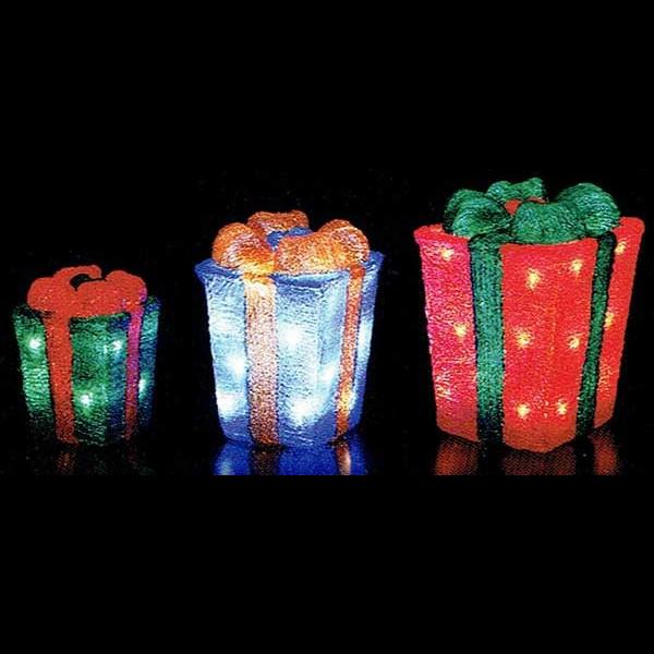 LEDクリスタルモチーフ3連プレゼントボックス イルミネーション