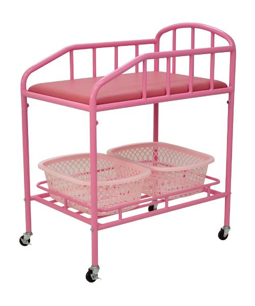 おむつ交換台ワゴン(マット、カゴ付き)ピンク
