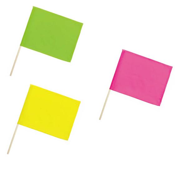 運動会 体育祭 運動会用品 旗 はた フラッグ 応援旗 イエロー 授与 ミニ小旗 グリーン 1本 メール便可 蛍光色 ピンク 25%OFF