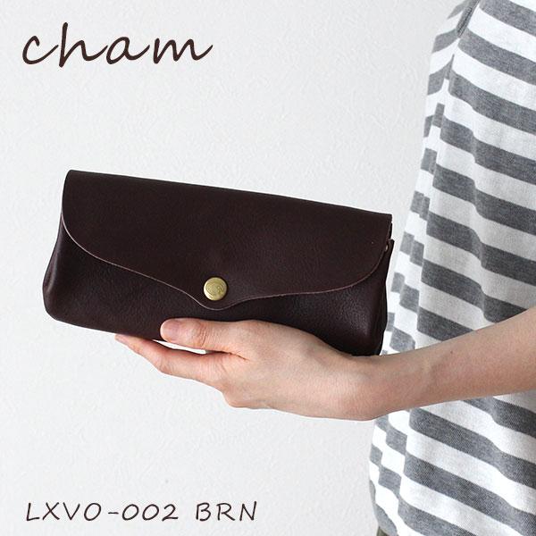cham ( チャム ) 革 ( レザー ) 長財布 BREATH ( ブレス ) PLUMP WALLET / ブラウンLXVO-002 BRN .