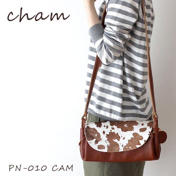 cham ( チャム ) 革 ( レザー ) ショルダーバッグ PONY ( ポニー ) ハラコ PONY PLUMP BAG / キャメル PN-010 CAM .