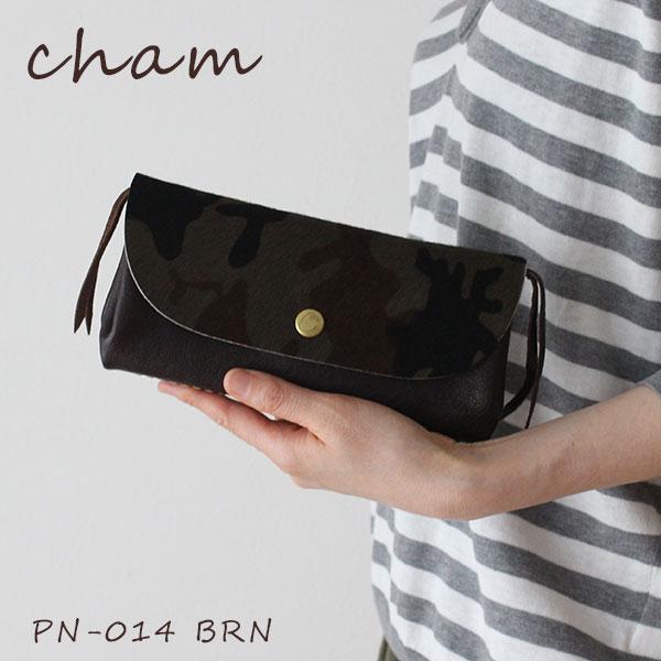 cham ( チャム ) 革 ( レザー ) 長財布 PONY-CAMO ( ポニー カモ ) CAMO PLUMP WALLET / ブラウン PN-014 BRN 迷彩 フラップタイプ.