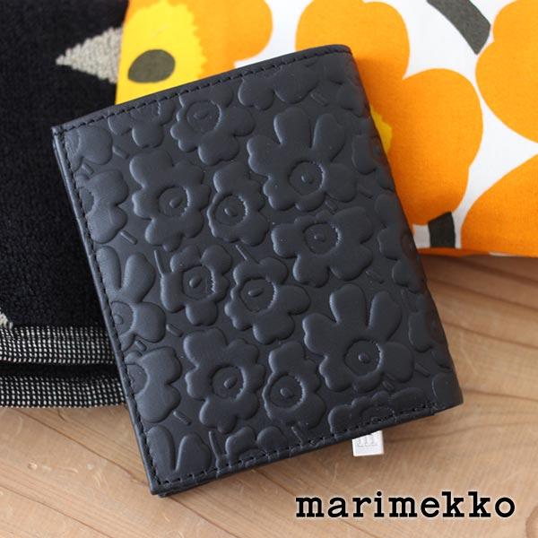 マリメッコ ( marimekko ) 財布 三つ折り MINI UNIKKO ( ミニウニッコ ) レザー ウォレット KATRI 革 折財布 / ブラック .