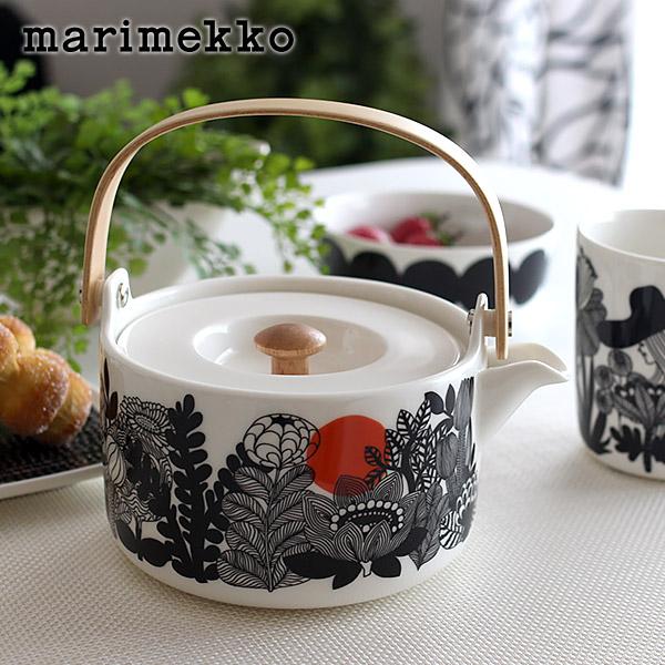 マリメッコ ( marimekko ) SIIRTOLAPUUTARHA Tea pot ( シイルトラプータルハ ティーポット )/ ブラック・ホワイト .