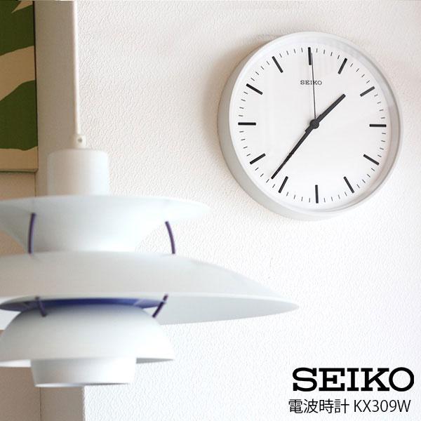 【 送料無料 】 SEIKO ( セイコー ) 電波時計 STANDARD ANALOG CLOCK ( スタンダード アナログクロック ) Mサイズ / ホワイト( KX309W ).