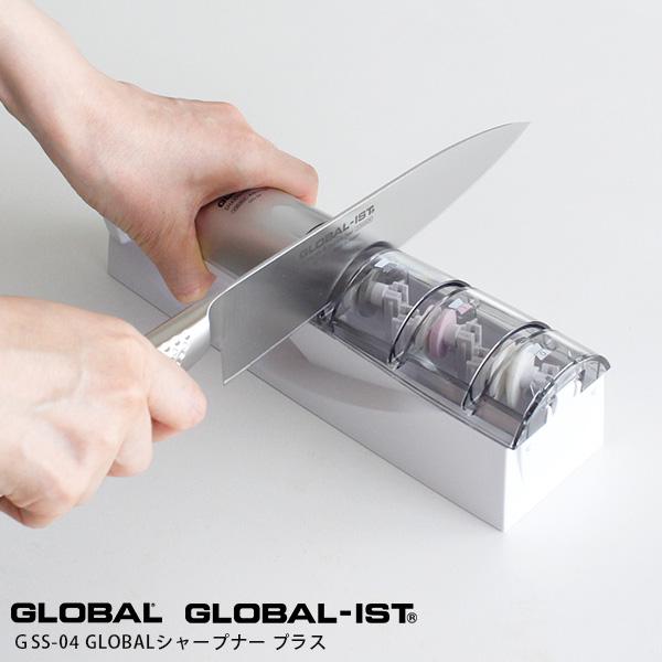 正規品 GLOBAL 返品交換不可 IST 日本製 吉田金属 包丁 ナイフ グローバル包丁 両刃用 オール ステンレス 一体型 プラス 砥石 包丁研ぎ あす楽 グローバルイスト メンテナンス 正規販売店 グローバル 専用 買い物 GSS-04 シャープナー