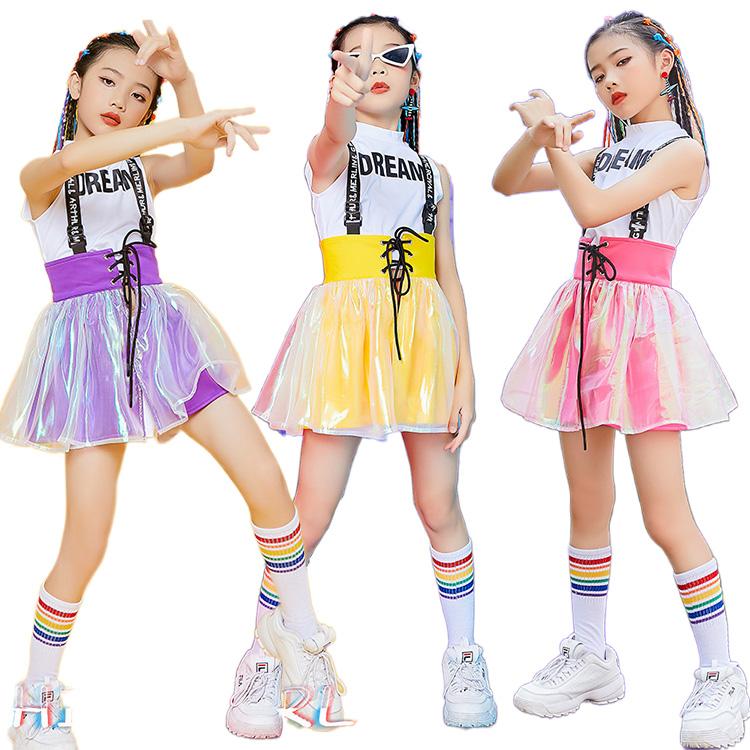 キッズダンス衣装 ダンス発表会 新作 セットアップ K-POP 可愛い チアガール スカートセット 袖なし 韓国 女の子 スカート ガールズ ジャッズ ダンス衣装 120-170 出色