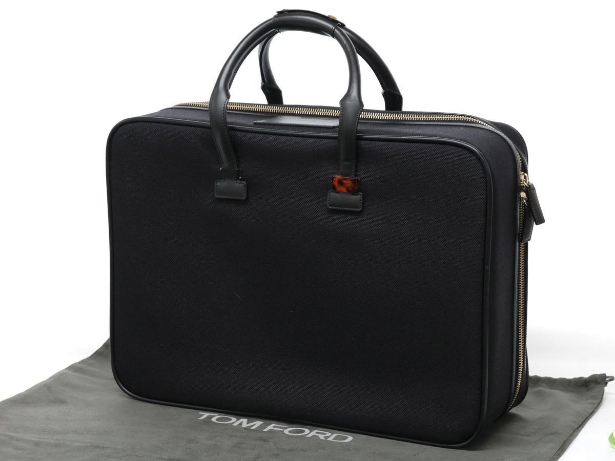 捧呈 TOM FORD トムフォード トランク 美品 スーツケース トランクケース 希望者のみラッピング無料 黒 ハンドバッグ 旅行鞄 キャンバス×レザー 中古 20200921 ブラック