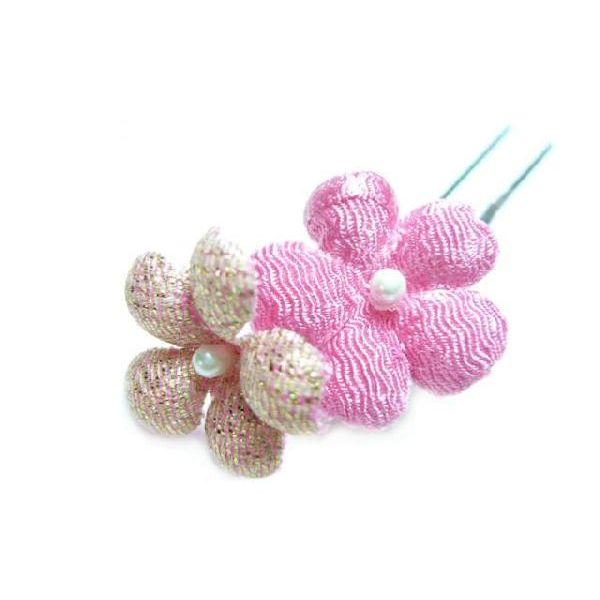 和風 髪飾り メール便対応  ちりめん髪飾り オニピン プリム ピンク 結婚式や成人式 正月や七五三に着物のヘアーアクセサリー造花