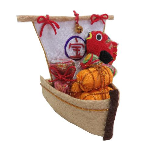 正月飾り 記念日 和雑貨 宅配便対応 お正月飾り 営業 ちりめん細工 俵 巾着 和小物 鯛ののった宝船 鼓