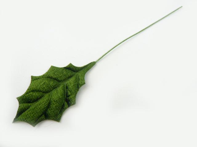 造花 リーフ メール便対応  リーフ ヒイラギ M ベルベット緑 造花 クリスマス