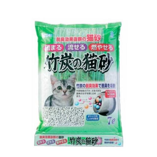 竹炭の脱臭効果で悪臭を吸着! ボンビアルコン 竹炭の猫砂 7L (68100190)●