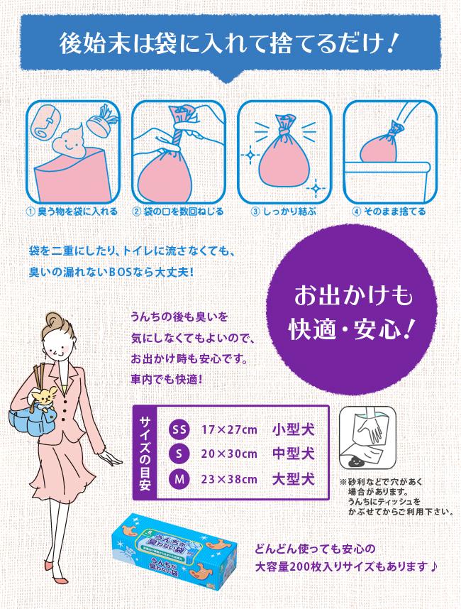クリロン化成 BOS うんちが臭わない袋 ペット用 箱型 Sサイズ 200枚入 (24300014) 【子供 オムツ おむつ マナー袋 子ども 赤ちゃん ベビー】