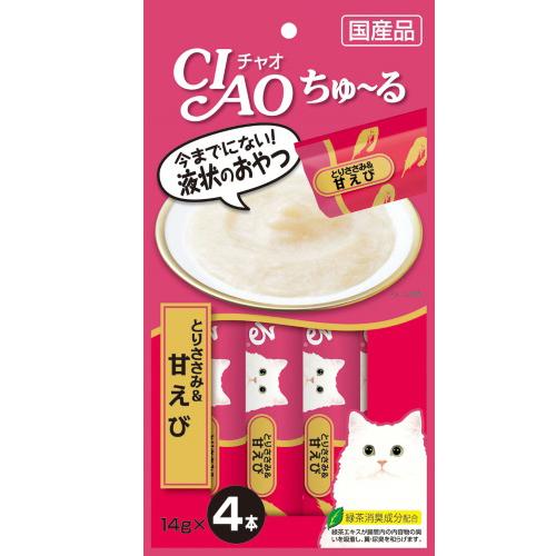 ちゅ~っと出して、簡単に栄養と水分を補給。 いなば CIAO ちゅーる とりささみ&甘えび 14g×4本(12600053)