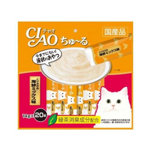 ちゅ~っと出して、簡単に栄養と水分を補給。 いなば CIAO ちゅ~るとりささみ海鮮ミックス味 14g×20本(12600067)