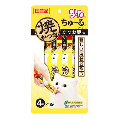 液状タイプのおやつ♪ いなば CIAO 焼かつおちゅ~るかつお節味 4本×12g(12600111)